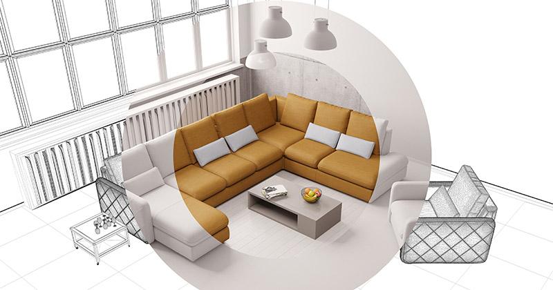 Umestitev sedežne garniture v dnevno sobo
